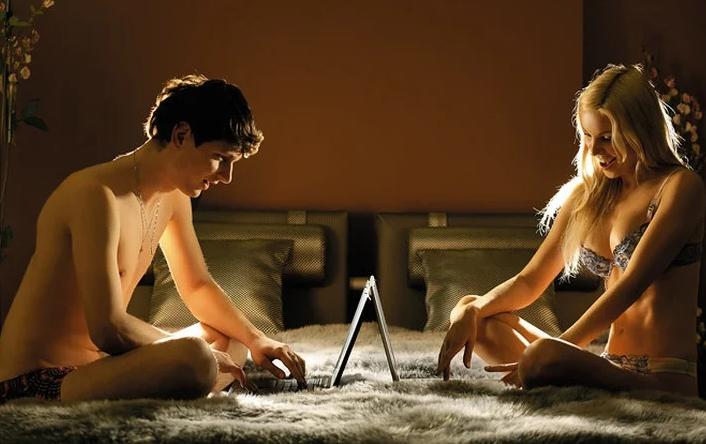 couple having online webcam sex chat